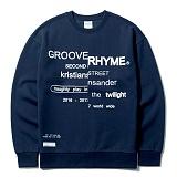 [그루브라임]Grooverhyme - 2016 FRONT REFRAME SWEATSHIRTS (NAVY) [GM020E43NA]크루넥 스��셔츠 맨투맨