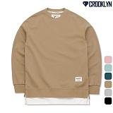 [크루클린] CROOKLYN 레이어드 오버핏 기모 맨투맨 MRL446 크루넥 스��셔츠
