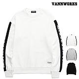 [특가할인]밴웍스 소매배색 레터링 맨투맨(VNAFTS307)_3colors 크루넥 스��셔츠