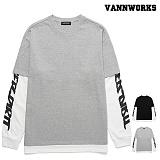 [특가할인]밴웍스 와이드 레터링 레이어드 맨투맨 (VNAFTS309)_2colors 크루넥 스��셔츠
