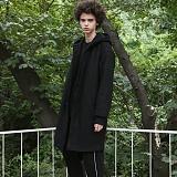 [디플로우]DEFLOW - OVERFIT HOOD WOOL COAT(BLACK) 오버핏 후드 울 코트