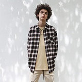 [디플로우]DEFLOW - OVERSIZE TARTAN CHECK SHIRT(BROWN) 타탄 체크셔츠 남방