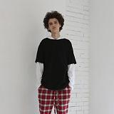 [디플로우]DEFLOW - LAYERED HOODIE LONGSLEEVE(black+white) 후드티셔츠