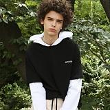 [디플로우]DEFLOW - HOMME ASSIS HOODIE LONGSLEEVE(black+white) 후드티셔츠