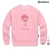 [앨빈클로]ALVINCLO MAR-826P 플라워 자수 맨투맨 크루넥 스��셔츠