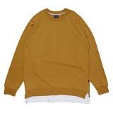 [비스폰지]BEASPONGE -  BSPG LAYERED SWEATSHIRT - CAMEL 레이어드 크루넥 스��셔츠 맨투맨