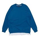 [비스폰지]BEASPONGE -  BSPG LAYERED SWEATSHIRT - BLUE 레이어드 크루넥 스��셔츠 맨투맨