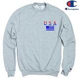 [Champion] 챔피온 CREW USA FLAG 기모맨투맨 GREY 정품 국내배송