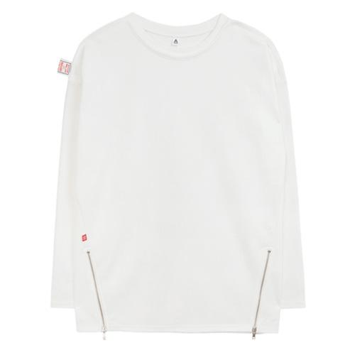 [에이비로드]ABROAD - Point Zip T-shirts (white) 긴팔티 롱슬리브