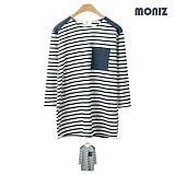 [모니즈]MONIZ 청지 배색 단가라 7부 티셔츠 TSL516