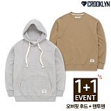 [1+1 SET][크루클린] CROOKLYN 오버핏 맨투맨+오버핏 후드 세트