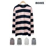 [모니즈]MONIZ 배색 단가라 티셔츠 TSL017