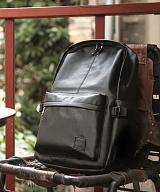 [코시드]KOSIDE - 베이직 레더 백팩 (BLACK) / 가죽 가방