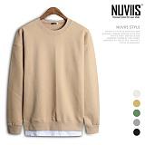 [뉴비스] NUVIIS - 심플 레이어드 오버핏 맨투맨 (WM011MT) 스웨트셔츠 크루넥