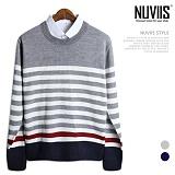 뉴비스 - 레드 라인 포인트 단가라 (MD022KN) 스웨터