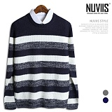 뉴비스 - 심플 보카시 단가라 니트 (MD020KN) 스웨터