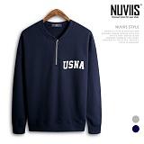 [뉴비스] NUVIIS - 유에스 반집업 맨투맨 티셔츠 (SP023MT) 스웨트셔츠 크루넥