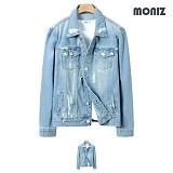 [모니즈]MONIZ 디스트로이드 페인트 연청자켓 JKD019