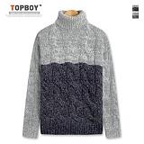 탑보이 - 배색라인 꽈배기 폴라니트 (DG105) 스웨터