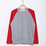 프랭크도미닉 - RAGLAN HIDDEN POKET(GREY+ RED) 나그랑티셔츠
