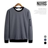 [뉴비스] NUVIIS - 베이직워싱 MA-1 맨투맨 티셔츠 (BN045MT) 스웨트셔츠 크루넥
