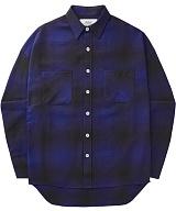 [언더에어]UNDER AIR Magnetic Field - Cobalt Blue 체크 남방 셔츠