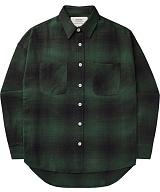 [언더에어]UNDER AIR Magnetic Field - Dark Green 체크 남방 셔츠