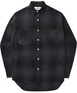 [언더에어]UNDER AIR Magnetic Field - Black 체크 남방 셔츠
