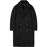 [언더에어]UNDER AIR Oversize Double Coat - Black 오버사이즈 더블 코트