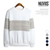 [뉴비스] NUVIIS - 기모 니트배색 맨투맨 (TR124MT) 스웨트셔츠 크루넥