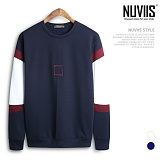 [뉴비스] NUVIIS - 사각자수 기모 맨투맨 (CS034MT) 스웨트셔츠 크루넥
