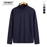 [탑보이] 심플 피치기모 반폴라 티셔츠 (CR157) 목폴라