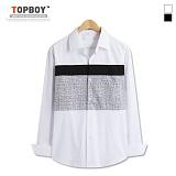 탑보이 - 가슴 투톤 배색 긴팔셔츠 (DL481)