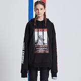 [어라운드80] AROUND 80 - Missing saint hood T-shirt_black 후드티셔츠 루즈핏 헤비쮸리