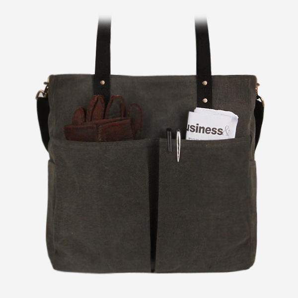 [모노노] MONONO - 6 Pocket 3 Way Bag Wax Canvas Charcoal 캔버스 숄더백 토트백