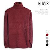 [뉴비스] NUVIIS - 꽈배기 무늬 폴라니트 (DS099KN) 터틀넥