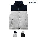 [모니즈]MONIZ 아가일 패턴 배색 패딩 조끼 PVT012