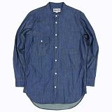 [언커먼팩터스]UFS - BANDED COLLAR SLUB DENIM SHIRT 데님셔츠 청남방 롱셔츠 셔츠 남방
