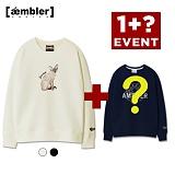 ★단독 1+1★엠블러 고양이 자수 맨투맨 AMM411-블랙 아이보리 크루넥 특양면 기모