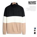 [뉴비스] NUVIIS - 삼단 배색 오버핏 니트폴라 맨투맨 (RM031MT)