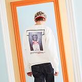 [버닝]Burning Square Print Sweatshirt (White) 스퀘어 프린트 스��셔츠 크루넥 맨투맨