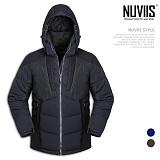[뉴비스] NUVIIS - 퀄팅 배색 후드 패딩점퍼 (MR004PD)