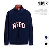 [뉴비스] NUVIIS - NYPD 후리스 반집업 오버핏 맨투맨 (RM038MT) 하프집업