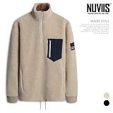 [뉴비스] NUVIIS - 양털 성조기 반집업 오버핏티셔츠 (RM040TS) 하프집업