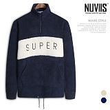 [뉴비스] NUVIIS - 양털 슈퍼자수 반집업 오버핏티셔츠 (RM039TS) 하프집업