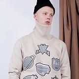 [비에이블투]BABLETWO High Neck Kitch Sweat Shirts (BEIGE) 하이 넥 키치 스��셔츠 크루넥 맨투맨