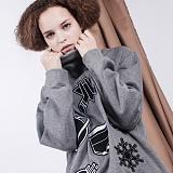 [비에이블투]BABLETWO High Neck Kitch Sweat Shirts (GRAY) 하이 넥 키치 스��셔츠 크루넥 맨투맨