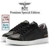[보이런던]Premium Spercial Edition 소가죽 로우탑 6cm 키높이 스니커즈(블랙) 남자 단화 기본 심플 신발 슈즈