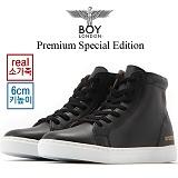[보이런던]Premium Spercial Edition 소가죽 하이탑 6cm 키높이 스니커즈(블랙) 남자 기본 심플 신발 슈즈