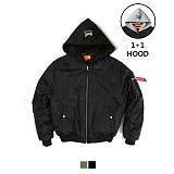 [어커버]ACOVER - Hood Shirring MA-1 Padding Jacket Black 후드 항공점퍼 항공자켓 항공패딩 항공패딩점퍼